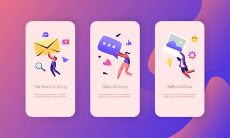 Social Media Marketing Mobile App Page Onboard Screen Set, Communication, Alert Advertising, Propaganda, Public Relations and Affairs, Concept for Website or Web Page, Cartoon Flat Vector Illustration Illustration