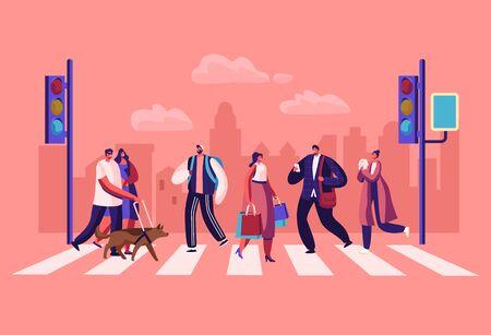 Los peatones personas caminando por las calles de la ciudad. Personajes de hombres y mujeres se apresuran en el trabajo en el fondo urbano con semáforos y paso de peatones moviéndose por carretera, estilo de vida, ilustración vectorial plana de dibujos animados