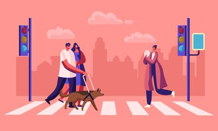 Disabled and Healthy Pedestrians with Pets Crossing Road Interchange in City, Blind Man Walking with Guide Dog and Woman Hold his Hand. Characters on Street Crosswalk. Cartoon Flat Vector Illustration