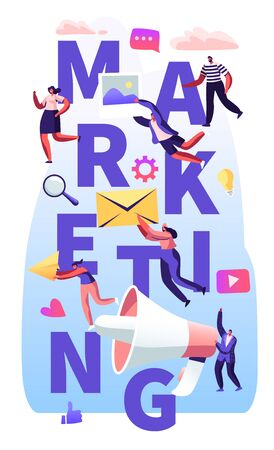 Marketing Concept, Pr Agency Team Work with Huge Megaphone, Communication Alert Advertising, Propaganda, Social Media Public Relations Poster, Banner, Flyer, Brochure. Cartoon Flat Vector Illustration  イラスト・ベクター素材