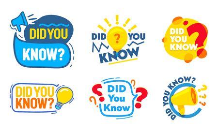 Zestaw czy wiesz, że zestaw odznak z megafonem, żarówka, ikony znaków zapytania, tagi marketingowe w mediach społecznościowych, naklejki na konto, banery promocyjne reklamowe, etykiety. Ilustracja kreskówka płaski wektor Ilustracje wektorowe
