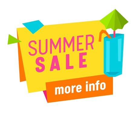 Summer Sale More Info Banner, Tag, Icon with Tropical Cocktail Isolated on White Background, Promo Advertising Poster, Ad, Tag, Summertime Special Offer Holiday Off. Cartoon Flat Vector Illustration