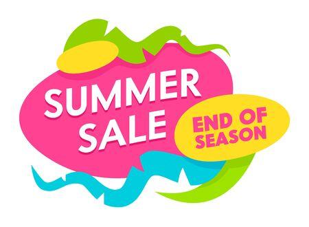 Summer Sale Ende der Saison Banner mit abstrakten Formen und Elementen isoliert auf weißem Hintergrund. Sommerurlaub, festliches Einkaufen, Rabattposter für das Ladenangebot. Flache Vektorillustration der Karikatur Vektorgrafik