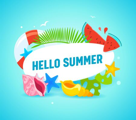 Hello Summer Banner with Typography and Summertime Items as Palm Leaves, Starfish, Lifebuoy, Watermelon Pieces and Colorful Shells. Greeting Card, Beach Party Flyer. Cartoon Flat Vector Illustration
