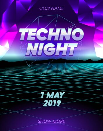 Techno Night Banner with Typography, Club Party Poster on Synthwave Neon Grid Futuristic Background with Low Poly Triangulars. Flyer Design. Social Media Content Decoration Promo. Vector Illustration Illustration