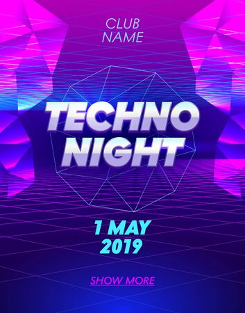Techno Night Banner with Typography on Synthwave Neon Grid Futuristic Background with Low Poly Triangulars. Club Party Poster, Flyer Design. Social Media Content Decoration Promo. Vector Illustration