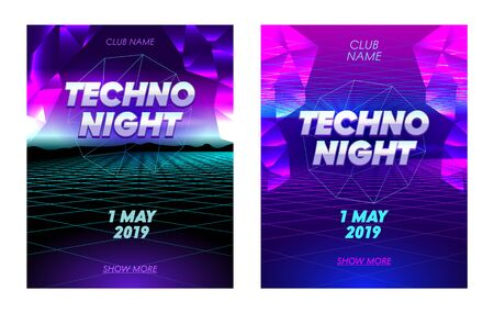 Techno Night Banners Set with Typography, Synthwave Neon Grid Futuristic Background with Low Poly Triangulars, Club Party Flyer Design, Poster, Social Media Invitation, Promo. Vector Illustration Illustration