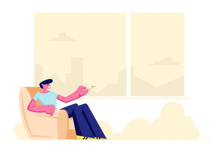 Young Man Sitting in Comfortable Armchair at Home with Remote Control for Conditioner or Tv Set in Hands, Male Character Using Domestic Technique, Climate Control Cartoon Flat Vector Illustration