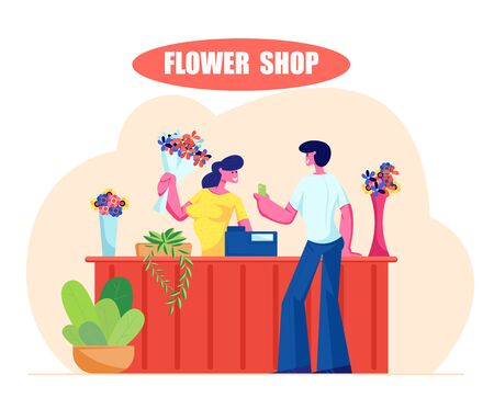 Young Man Buying Bouquet in Flower Shop. Saleswoman Giving Blossoms to Customer Visiting Floristic Store for Choosing and Buying Present, Florist Profession, Job. Cartoon Flat Vector Illustration