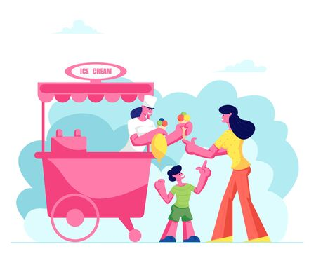 Mother Buying Ice Cream Cone with Colored Balls Dessert to Little Son Holding Air Balloon in Hand in Stall on Street or Park, Summer Treat Shopping. Weekend Leisure, Cartoon Flat Vector Illustration