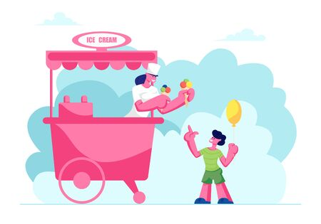 Sales Woman Giving Ice Cream in Waffle Cones with Colored Balls to Little Boy with Air Balloon, Child Buying Cold Dessert at Stall on Street or Park, Summer Treat, Cartoon Flat Vector Illustration