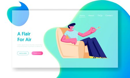Man Sit in Armchair at Home with Remote Control for Conditioner or Tv Set , Character Using Domestic Technique, Climate Control Website Landing Page, Web Page. Cartoon Flat Vector Illustration, Banner Иллюстрация