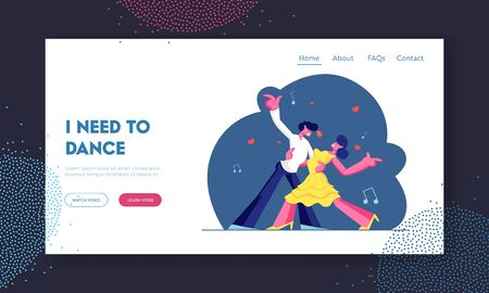 Couple Dancing Tango Website Landing Page, Man and Woman in Loving or Friendly Relations Spend Time Together, Disco Dance Activity, Leisure or Hobby. Web Page. Cartoon Flat Vector Illustration, Banner Illustration