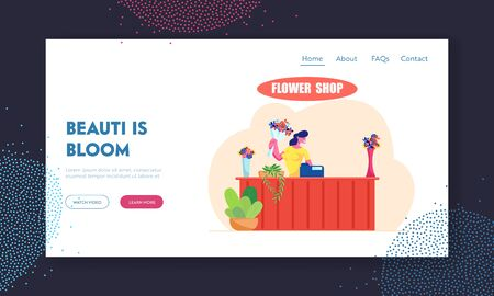 Florist Profession, Job Website Landing Page, Saleswoman Holding Bouquet at Counter Desk with Cashbox in Flower Shop. Floristic Store Blossom Present Web Page. Cartoon Flat Vector Illustration, Banner