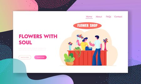Young Man Buying Bouquet in Flower Shop Website Landing Page, Saleswoman Giving Blossoms to Customer Visiting Floristic Store , Florist Profession, Web Page. Cartoon Flat Vector Illustration, Banner Ilustração