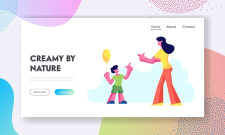 Happy Family Leisure, Weekend Website Landing Page, Mother and Little Son with Air Balloon Walking in Park, Outdoors Activity, Spare Time, Summer Web Page. Cartoon Flat Vector Illustration, Banner