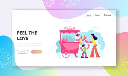 Weekend Leisure Website Landing Page, Mother Buying Ice Cream to Son Holding Air Balloon in Hand in Stall on Street or Park, Summer Treat Shopping Web Page. Cartoon Flat Vector Illustration, Banner