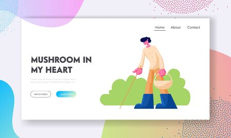 Man with Basket and Stick Searching Mushrooms in Forest Website Landing Page, Autumn Season Activity, People Walking in Forest, Fall Hobby, Leisure Web Page. Cartoon Flat Vector Illustration, Banner