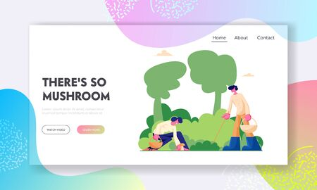 Happy Characters Pick Up Mushrooms Website Landing Page, People Walking in Forest, Spend Time Outdoors in Wood, Autumn Season, Fall Activity, Hobby Web Page. Cartoon Flat Vector Illustration, Banner