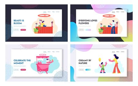 Flower Shop, Ice Cream Stall, Mother with Son Sparetime Website Landing Page Set, Man Buy Bouquet in Store, Saleswoman in Kiosk, Happy Family Leisure Web Page. Cartoon Flat Vector Illustration, Banner