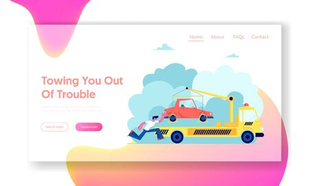 Evacuation Service Website Landing Page, Tow Truck Take Away Car, Flatbed Car with Crane and Signaling Evacuating Transport for Wrong Street Parking Web Page. Cartoon Flat Vector Illustration, Banner
