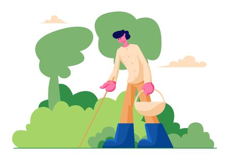 Happy Man Character with Basket and Stick in Hands Searching Mushrooms in Forest, Spend Time Outdoors at Autumn Season, People Walking in Forest, Fall Activity, Hobby. Cartoon Flat Vector Illustration  イラスト・ベクター素材