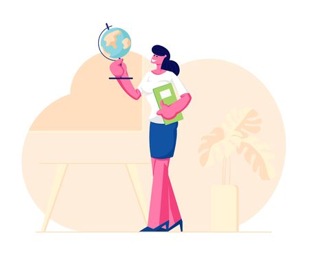 Geography Teacher Woman Character Holding Globe and Class Journal Stand on Classroom Background with Table, Blackboard and Potted Plant, School Worker, Occupation. Cartoon Flat Vector Illustration Ilustrace