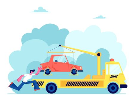 Tow Truck Take Away Car, Stressed Owner Chase, Driver in Trouble, Flatbed Car with Crane and Signaling Evacuating Transport for Wrong Parking, Evacuation Service. Cartoon Flat Vector Illustration