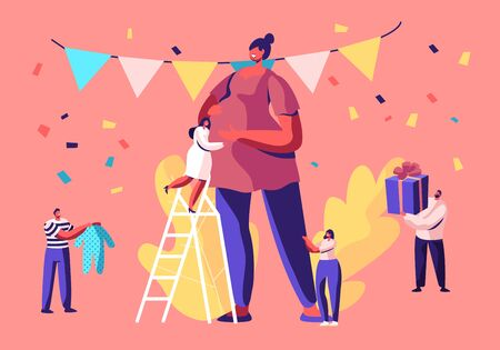 Baby Shower Event, Tiny Characters Stand on Ladders around Huge Pregnant Woman in Decorated Festive Room Giving Presents, Happy People Celebration Soon Baby Birthday, Cartoon Flat Vector Illustration