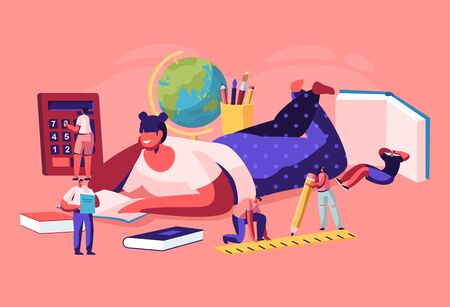 Education Concept with Tiny Characters with School Stationery around of Huge Girl College or University Student Lying on Floor Reading Book, Back to School, Knowledge, Cartoon Flat Vector Illustration
