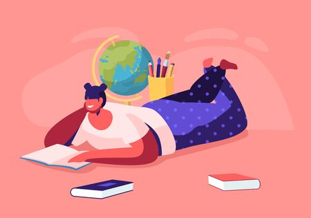 Education Concept, Girl Lying on Floor Reading Book with School Stationery around, College or University Student, Back to School, Female Character Gaining Knowledge, Cartoon Flat Vector Illustration