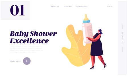 Baby Shower Event Celebration Website Landing Page, Tiny Woman Character Holding Huge Bottle with Milk for Child Feeding, Gift for Pregnant Woman, Web Page. Cartoon Flat Vector Illustration, Banner Illusztráció