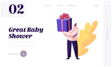 Baby Shower Event, Tiny Male Character Holding Huge Gift Box Wrapped with Ribbon, Present for Pregnant Woman Soon Baby Birthday Website Landing Page, Web Page. Cartoon Flat Vector Illustration, Banner