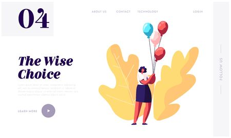 Baby Shower or Birthday Event Website Landing Page, Character Hold Bunch of Air Balloons, Present for Pregnant Woman Celebration Soon Baby Appearance Web Page. Cartoon Flat Vector Illustration, Banner
