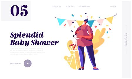 Baby Shower Party Website Landing Page, Girl Character Stand on Ladder Hugging Belly of Huge Pregnant Woman in Decorated Room, Baby Birthday Event Web Page. Cartoon Flat Vector Illustration, Banner
