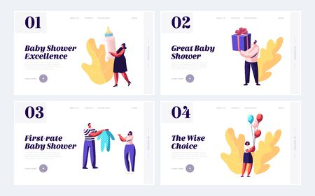 Baby Shower Event Website Landing Page Set, Characters Celebrate Soon Baby Birthday with Gifts, Presents for Pregnant Woman, Happy People Celebration Web Page. Cartoon Flat Vector Illustration, Banner Ilustração