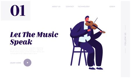 Violinist Playing on Violin Website Landing Page, Artist Practicing Music. Male Musician Character with Classic Instrument Preparing for Concert Web Page. Cartoon Flat Vector Illustration, Banner