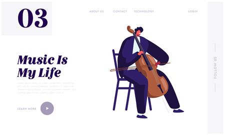 Cellist Playing on Cello Website Landing Page, Male Musician Character with Classic Instrument Preparing for Concert, Artist Practicing Music, Art Web Page. Cartoon Flat Vector Illustration, Banner