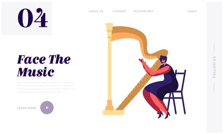 Harpist Musician Woman Playing on Harp Website Landing Page, Symphony Orchestra Classical Music Concert, Artist Perform on Stage, Philharmonic Event Web Page. Cartoon Flat Vector Illustration, Banner