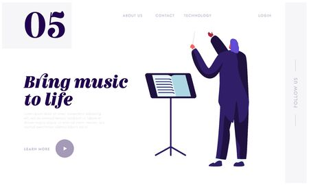 Conductor Wearing Tuxedo Holding Stick at Music Stand, Symphony Orchestra Classical Music Concert Performing on Stage, Theater Website Landing Page, Web Page. Cartoon Flat Vector Illustration, Banner Illustration