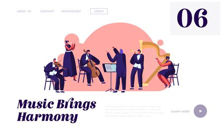 Symphony Orchestra Playing Classical Music Concert Website Landing Page, Conductor and Musicians with Instruments Performing on Stage, Performance Web Page. Cartoon Flat Vector Illustration, Banner Illustration