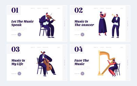 Classical Musicians with Instruments Website Landing Page Set, Symphony Orchestra Music Concert, Violin, Flute, Cello, Trumpet, Harp Performance. Web Page. Cartoon Flat Vector Illustration, Banner Standard-Bild - 128443456