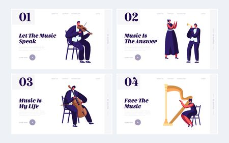 Classical Musicians with Instruments Website Landing Page Set, Symphony Orchestra Music Concert, Violin, Flute, Cello, Trumpet, Harp Performance. Web Page. Cartoon Flat Vector Illustration, Banner