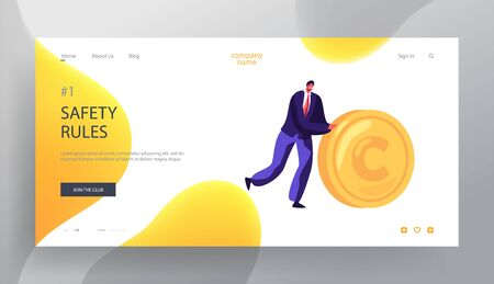 Business Man Rolling Gold Coin Website Landing Page, People and Money Safety, Investment, Financial Secure, Profit, Salary Wealth, Increasing Capital Web Page. Cartoon Flat Vector Illustration, Banner 일러스트