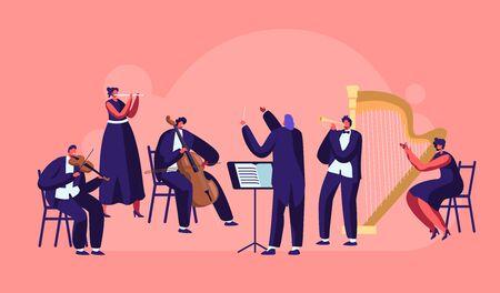 Symphonieorchester, das klassisches Musikkonzert spielt, Dirigent und Musiker mit Instrumenten, die auf der Bühne mit Violine, Flöte, Cello, Trompete, Harfe auftreten. Flache Vektorillustration der Karikatur Vektorgrafik