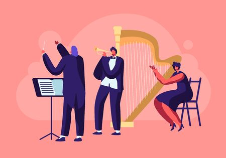 Symphony Orchestra Playing Classical Music Concert, Conductor and Musicians with Instruments Performing on Stage with Trumpet and Harp, Perform on Philharmonic Scene. Cartoon Flat Vector Illustration