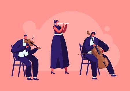 Musiciens avec instruments se produisent sur scène avec violon et flûte, concert de musique classique de l'orchestre symphonique, performance sur scène philharmonique, illustration vectorielle plate de dessin animé d'ensemble instrumental Vecteurs