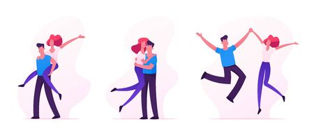 Set of Happy Loving Couples Sparetime, Cheerful Man and Woman Characters Spend Time Together, Hugging, Rejoice, Jumping with Hands Up, Human Relations, Togetherness, Cartoon Flat Vector Illustration Illustration