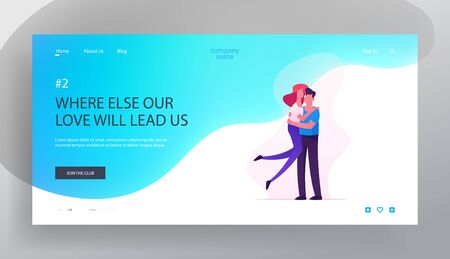 Love, Human Relations, Togetherness Website Landing Page, Man Holding Young Woman on Hands, Happy Loving Couple Sparetime, Spend Time Together, Hugs Web Page. Cartoon Flat Vector Illustration, Banner