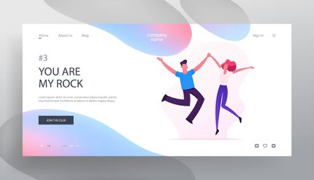 Cheerful Man and Woman Characters Spend Time Together Website Landing Page, Happy Loving Couple Jumping with Hands Up, Sparetime, Human Relations Web Page. Cartoon Flat Vector Illustration, Banner